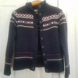 CARVE DESIGNS Merino Cardigan Sweater Fair Isles L
